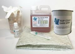 Fibreglass Roof Repair Kit - 1kg Resin , 1kg Topcoat GREY
